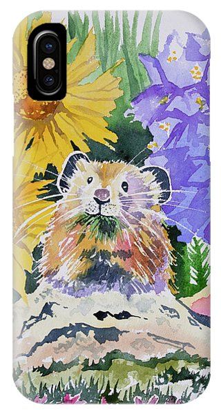 Watercolor - Pika With Wildflowers IPhone Case