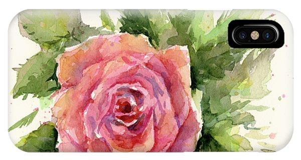 Red Flower iPhone Case - Watercolor Rose by Olga Shvartsur
