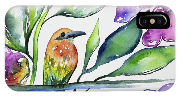Watercolor - Rufous Motmot IPhone Case
