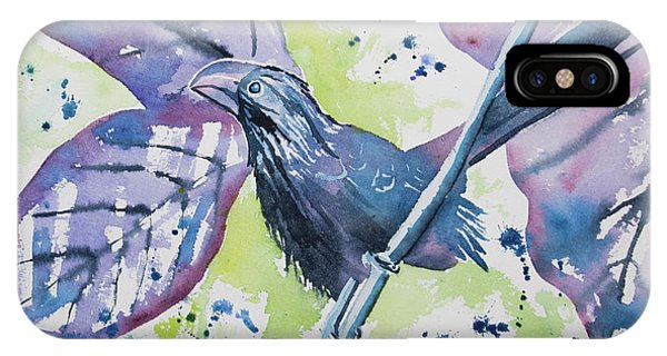 Watercolor - Smooth-billed Ani IPhone Case