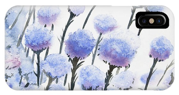 Watercolor - Snow-covered Seed Pods IPhone Case