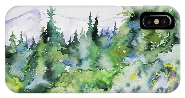 Watercolor - Summer In The Rockies IPhone Case