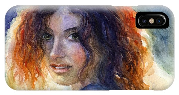 Watercolor Sunlit Woman Portrait 2 IPhone Case