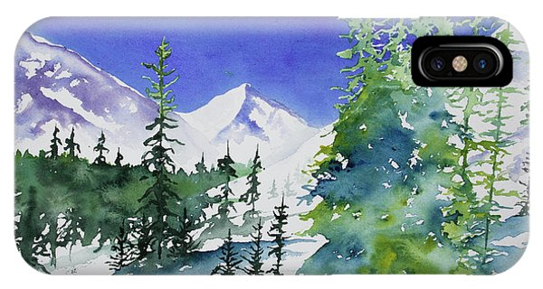 Watercolor - Sunny Winter Day In The Mountains IPhone Case