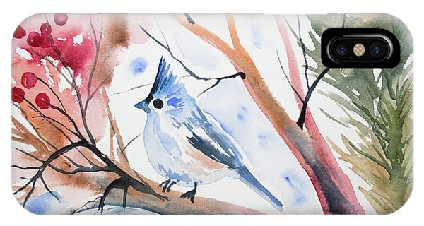 Watercolor - Tufted Titmouse With Winter Berries IPhone Case