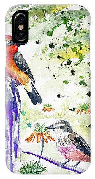 Watercolor - Vermilion Flycatcher Pair In Quito IPhone Case