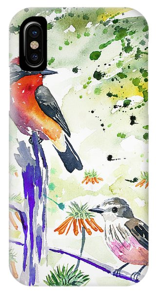 Watercolor - Vermilion Flycatcher Pair In Quito IPhone Case