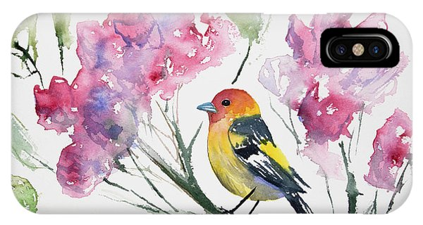 Watercolor - Western Tanager In A Flowering Tree IPhone Case
