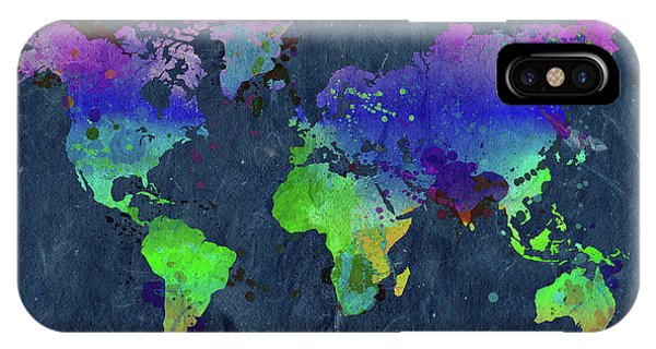 Different iPhone Case - Watercolor World Map Blue by Delphimages Photo Creations