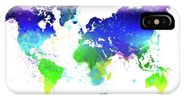 Different iPhone Case - Watercolor World Map by Delphimages Photo Creations
