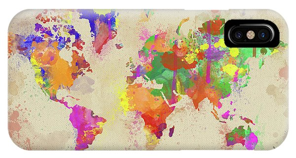 New Trend iPhone Case - Watercolor World Map On Old Canvas by Zaira Dzhaubaeva