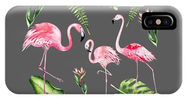 IPhone Case featuring the painting Watercolour Flamingo Family by Georgeta Blanaru