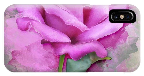 Watercolour Pastel Lilac Rose IPhone Case