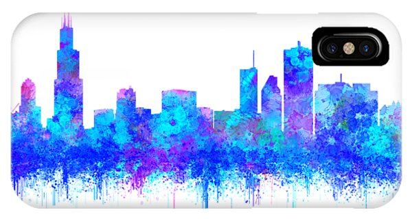 IPhone Case featuring the painting Watercolour Splashes And Dripping Effect Chicago Skyline by Georgeta Blanaru