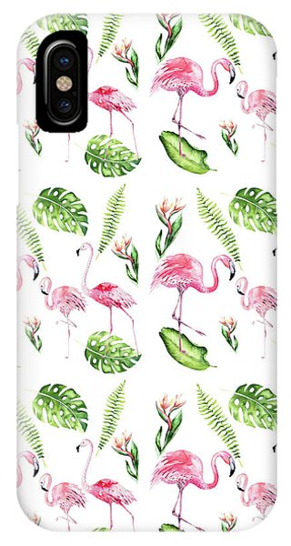 IPhone Case featuring the painting Watercolour Tropical Beauty Flamingo Family by Georgeta Blanaru