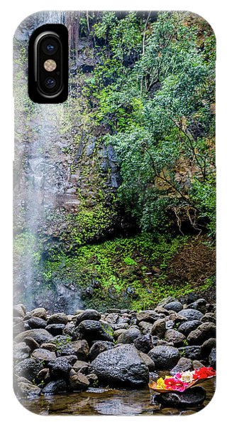 Waterfall And Flowers IPhone Case