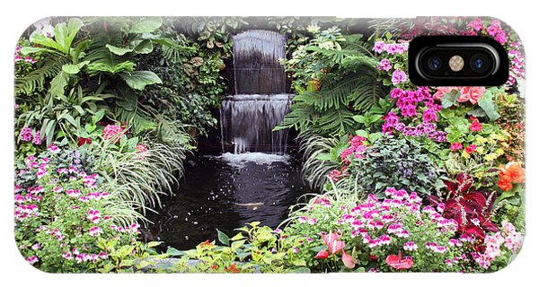 Waterfall And Koi Pond At Butchart Gardens. IPhone Case