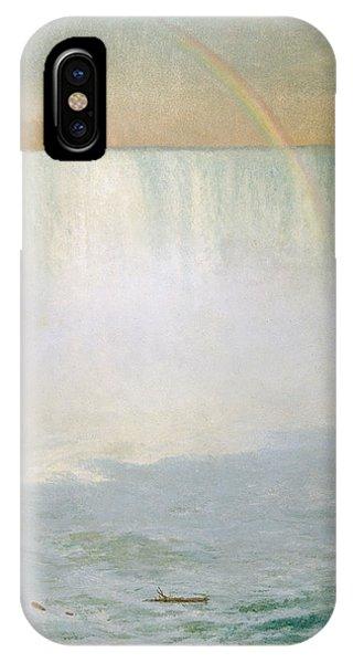 Water iPhone Case - Waterfall And Rainbow At Niagara Falls by Albert Bierstadt