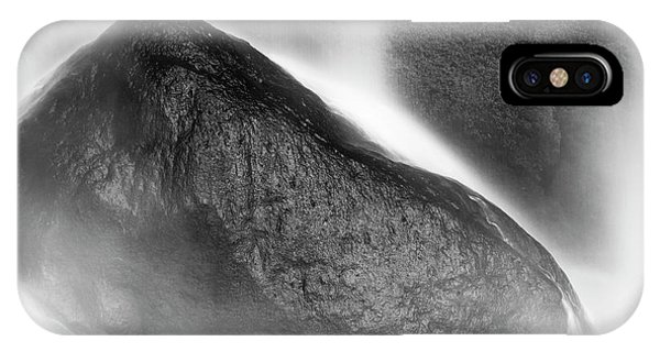 IPhone Case featuring the photograph Waterfall On Rocks At Misol Ha Black And White by Tim Hester