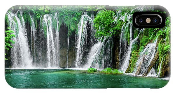 Waterfalls Panorama - Plitvice Lakes National Park Croatia IPhone Case