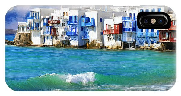 Waterfront At Mykonos IPhone Case