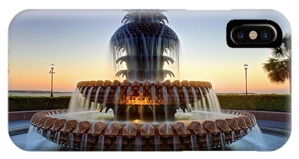 IPhone Case featuring the photograph Waterfront Park Pineapple Fountain In Charleston Sc by Pierre Leclerc Photography