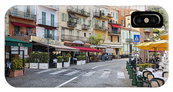 French Riviera iPhone Case - Waterfront Restaurants In Villefranche-sur-mer by Elena Elisseeva