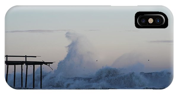 Wave Towers Over Oc Fishing Pier IPhone Case