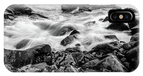 IPhone Case featuring the photograph Waves Against A Rocky Shore In Bw by Doug Camara