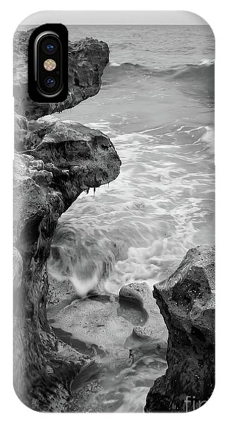 Waves And Coquina Rocks, Jupiter, Florida #39358-bw IPhone Case