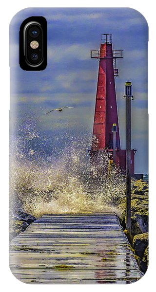 Waves At Muskegon South Breakwater IPhone Case