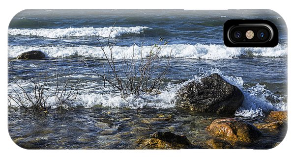 Waves Crashing Ashore At Northport Point On Lake Michigan IPhone Case