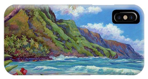 Oahu Hawaii iPhone Case - Waves On Na Pali Shore by John Clark