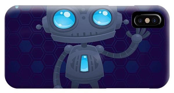Gray iPhone Case - Waving Robot by John Schwegel