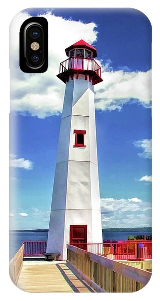 IPhone Case featuring the painting Wawatam Lighthouse by Christopher Arndt