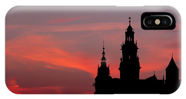 Wawel Castle And Cathedral Silhouette In Krakow IPhone Case
