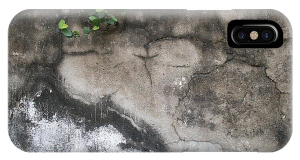 Weathered Broken Concrete Wall With Vines IPhone Case