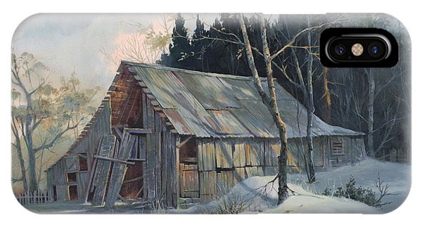 Barn Snow iPhone Case - Weathered Sunrise by Michael Humphries