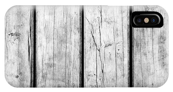 IPhone Case featuring the photograph Weathered Wooden Background Black And White by Tim Hester