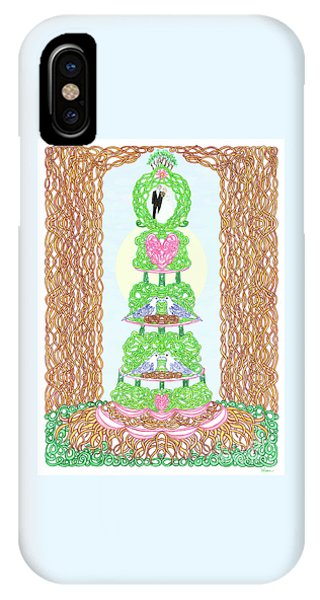 IPhone Case featuring the painting Wedding Cake With Doves by Lise Winne