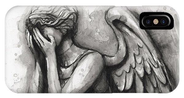 Doctor iPhone Case - Weeping Angel Watercolor by Olga Shvartsur