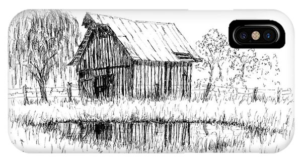 Weeping Willow And Barn Two IPhone Case