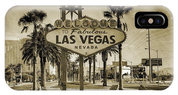 Sunny iPhone Case - Welcome To Las Vegas Series Sepia Grunge by Ricky Barnard