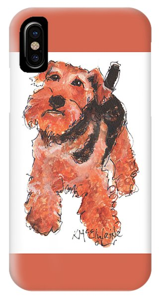 Welsh Terrier Or Schnauzer Watercolor Painting By Kmcelwaine IPhone Case