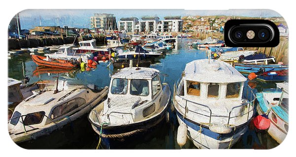 Dorset iPhone Case - West Bay Harbour Dorset Uk In Summer Illustration Like Oil Painting by Michael Charles