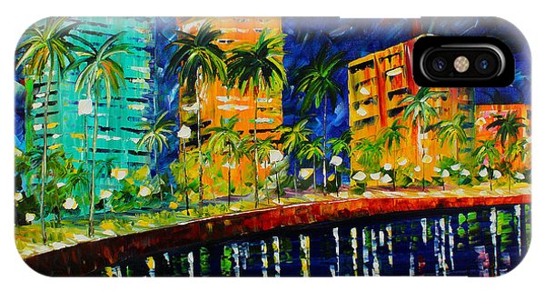 IPhone Case featuring the painting West Palm At Night by Kevin Brown
