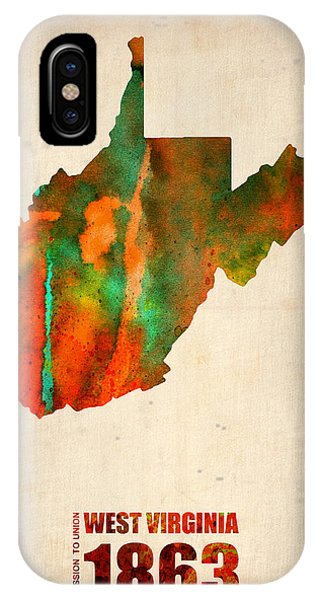 Decoration iPhone Case - West Virginia Watercolor Map by Naxart Studio