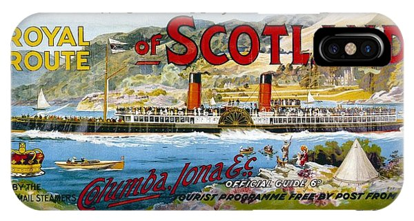 Advertising iPhone Case - Western Highlands And Islands Of Scotland - Steamship - Retro Travel Poster - Vintage Poster by Studio Grafiikka