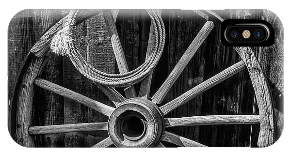 Wagon Wheel iPhone Case - Western Rope And Wooden Wheel In Black And White by Garry Gay