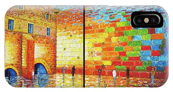 Western Wall Jerusalem Wailing Wall Acrylic Painting 2 Panels IPhone Case